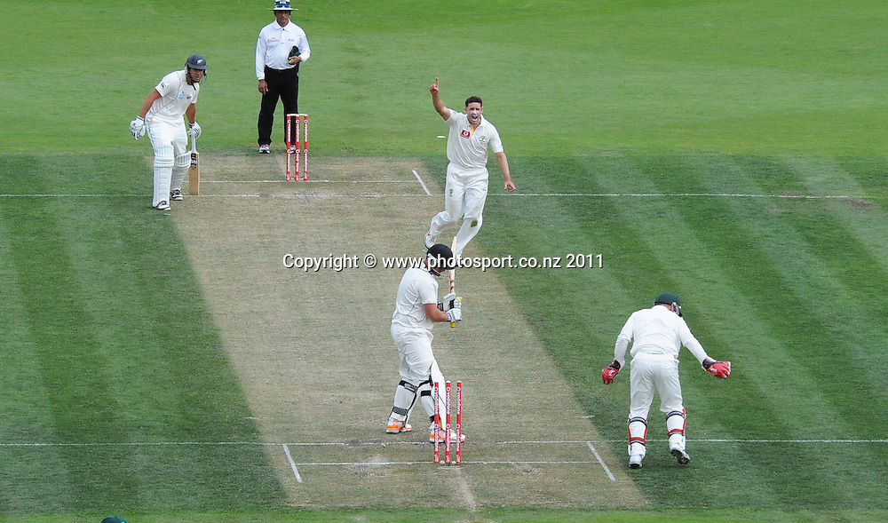 Jesse Ryder is stumped down the leg side by Brad Haddin off the bowling of Michael Hussey on Day 2 of the second cricket test between Australia and New Zealand Black Caps at Bellerive Oval in Hobart, Saturday 10 December 2011. Photo: Andrew Cornaga/Photosport.co.nz