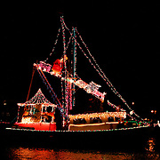 The boat's route at the Carolina Beach Island of Lights Flotilla was to cruise from Snows Cut to Carolina Beach Boat Basin and back.
