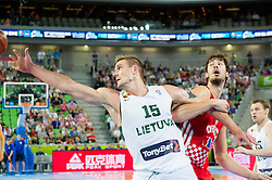 Roberas Javtokas #15 of Lithuania vs Ante Tomic #4 of Croatia during basketball match between National teams of Lithuania and Croatia in Semifinals at Day 17 of Eurobasket 2013 on September 20, 2013 in Arena Stozice, Ljubljana, Slovenia. (Photo by Vid Ponikvar / Sportida.com)