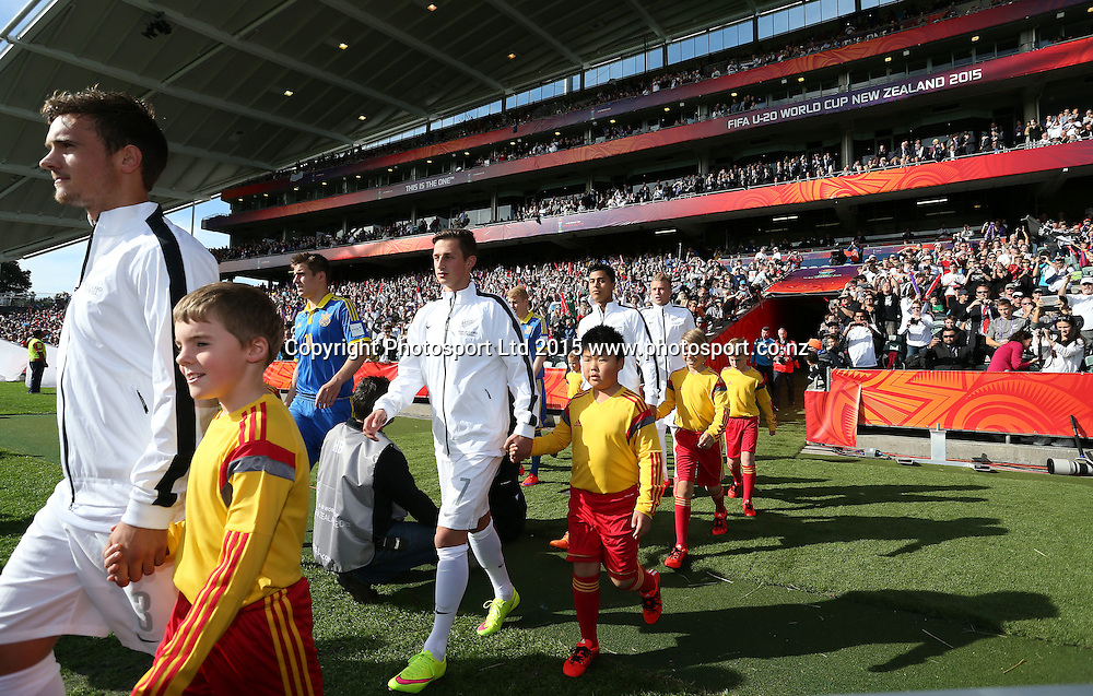 THe teams come out to the field. 2015 FIFA U20 World Cup, New Zealand v Ukraine, QBE Stadium Auckland, Saturday 30th May 2015. Copyright Photo: Shane Wenzlick
