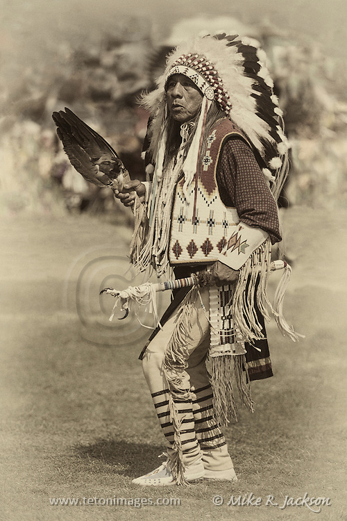 Ute Chief at a regional Pow-Wow performing a traditional slow dance.