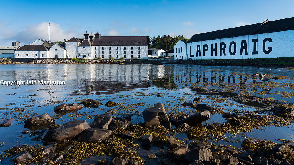 View of Laphroaig Distillery on island of Islay in Inner Hebrides of Scotland, UK