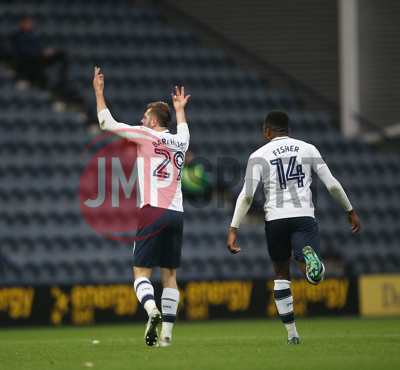 Tom Barkhuizen of Preston North End (L) celebrates after scoring his sides second goal - Mandatory by-line: Jack Phillips/JMP - 28/10/2017 - FOOTBALL - Deepdale - Preston, England - Preston North End v Brentford - Football League Championship