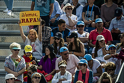April 25, 2018 - Barcelona, Catalonia, Spain - A fan shows her placard reading 'Let's go Rafa' during the match between Rafael Nadal (ESP) and Roberto Carballes Baena (ESP) during Day 3 of the 'Barcelona Open Banc Sabadell' 2018. Nadal won 6-4,6-4 (Credit Image: © Matthias Oesterle via ZUMA Wire)