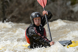 Rory King of Washington, Mo. practices on the slalom course prior to the start of the 45th Annual Missouri Whitewater Championships. King later placed first in the K1 Men's Novice/Expert class, second in the K1 Men's Long Plastic (under 30) class and first in the downriver K1 Men's Plastic (under 30) class. The Missouri Whitewater Championships, held on the St. Francis River at the Millstream Gardens Conservation Area, is the oldest regional whitewater slalom race in the United States. Heavy rain in the days prior to the competition sent water levels on the St. Francis River to some of the highest heights that the race has ever been run. Only expert classes were run on the flood level race course.
