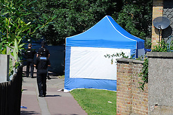 © Licensed to London News Pictures. 11/08/2012 .Police activity at The Lindens today (11/08/2012) as local residents lay flowers for Tia Sharp..The body of Tia Sharp has been discovered at the home of Christine Sharp her grandmother at 20 The Lindens.  12 years old Tia Sharp has been missing from the Lindens on The Fieldway Estate in New Addington,Croydon,Surrey since Friday last week. .Photo credit : Grant Falvey/LNP