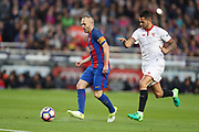 ANDRES INIESTA of FC Barcelona during the Spanish championship Liga football match between FC Barcelona and Sevilla FC on April 5, 2017 at Camp Nou stadium in Barcelona, Spain. <br /> Photo Manuel Blondeau / AOP Press / ProSportsImages / DPPI