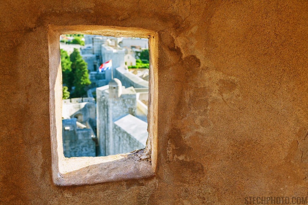 The interior and window of an outpost on the wall surrounding the old city of Dubrovnik, Croatia. <br />