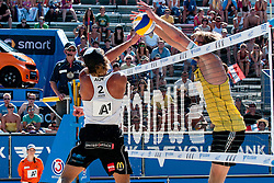 Daniel Hupfer of Austria vs Sebastian Dollinger of Germany at A1 Beach Volleyball Grand Slam tournament of Swatch FIVB World Tour 2011, on August 3, 2011 in Klagenfurt, Austria. (Photo by Matic Klansek Velej / Sportida)