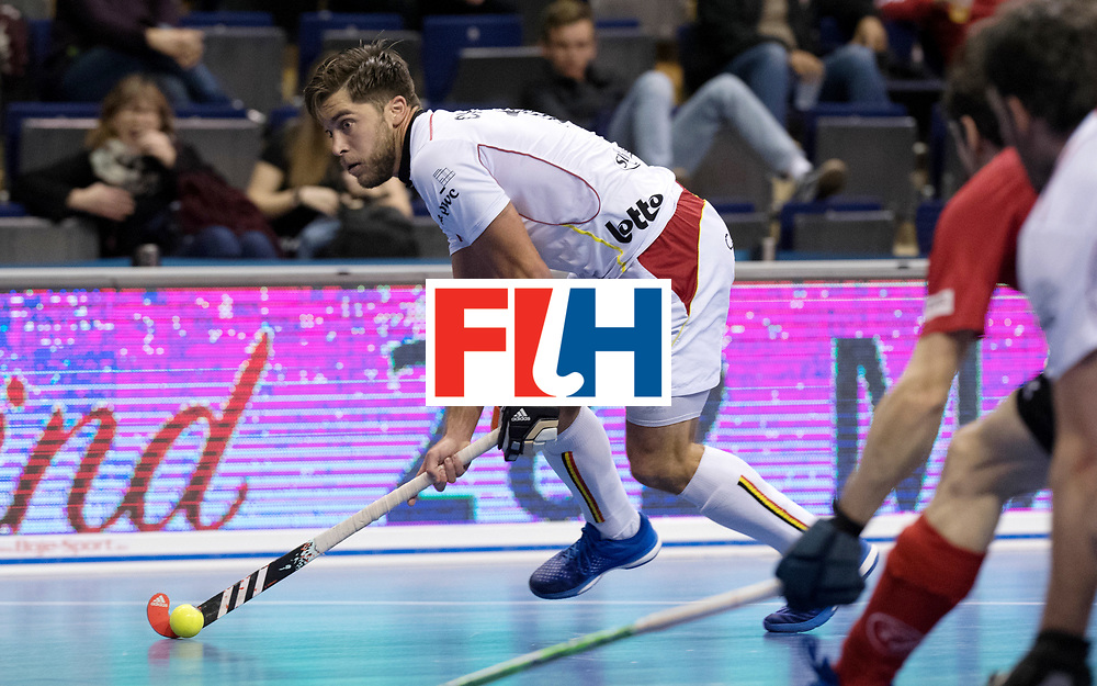BERLIN - Indoor Hockey World Cup<br /> Men: Switzerland - Belgium<br /> foto: Cedric Charlier.<br /> WORLDSPORTPICS COPYRIGHT FRANK UIJLENBROEK