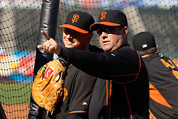 SAN FRANCISCO, CA - JULY 10:  Former Major League Baseball player Will Clark talks to Joe Panik #12 of the San Francisco Giants during batting practice before the game against the Philadelphia Phillies at AT&T Park on July 10, 2015 in San Francisco, California.  The San Francisco Giants defeated the Philadelphia Phillies 15-2. (Photo by Jason O. Watson/Getty Images) *** Local Caption *** Will Clark; Joe Panik
