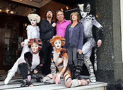 Image licensed to i-Images Picture Agency. 07/07/2014. London, United Kingdom. Cast members from the musical Cats with the original creative team of Director Trevor Nunn, Composer Andrew LLoyd Webber and Choreographer Gillian Lynne outside the London Palladium to launch the return of the musical for a 12 week limited run from 6th December 2014 Picture by Stephen Lock / i-Images
