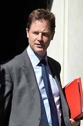 Image ©Licensed to i-Images Picture Agency. 10/06/2014. <br />  <br /> Nick Clegg leaves a cabinet Meeting at 10 Downing Street, London, UK. Tuesday 10th of June 2014<br /> <br /> Picture by Ben Stevens / i-Images