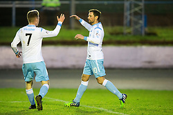 Forfar Athletic's Gavin Swankie (10) cele scoring their second goal. half time : Cowdenbeath 1 v 2 Forfar Athletic, Scottish Football League Division Two game played 17/12/2016 at Central Park.