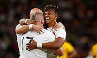 Rugby Union - 2019 Rugby World Cup - Quarter-Final: England vs. Australia<br /> <br /> Anthony Watson of England celebrates his try with Joe Marler of England at Oita Stadium, Oita Prefecture.<br /> <br /> COLORSPORT/LYNNE CAMERON