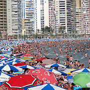THE BUSY BEACHES IN BENIDORM SPAIN IN THE FIRST WEEK OF AUGUST 2009...The owner of First Choice and Thomson said it has fewer summer holidays left to sell than last year after a recent pick-up in bookings...TUI Travel said consumers continued to leave purchases nearer to the time of departure, but that demand for the main summer break was as strong as ever...It is less confident about the winter season given that such breaks are usually discretionary and will in many cases be a secondary holiday...Bookings for the winter are currently down 21%, although trading in the last four weeks has improved to show a 6% fall in bookings...TUI has removed 15% of capacity but retains flexibility to alter this should demand improve..