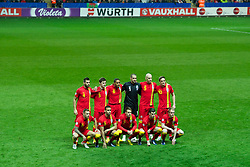 SWANSEA, WALES - Tuesday, March 26, 2013: Wales players line up for a team group photograph before the 2014 FIFA World Cup Brazil Qualifying Group A match against Croatia at the Liberty Stadium. Back row L-R: Joe Ledley, Ben Davies, captain Ashley Williams, goalkeeper Boaz Myhill, James Collins, Andy King. Front row L-R: Craig Bellamy, Hal Robson-Kanu, Chris Gunter, Gareth Bale, Jonathan Williams. (Pic by Tom Hevezi/Propaganda)
