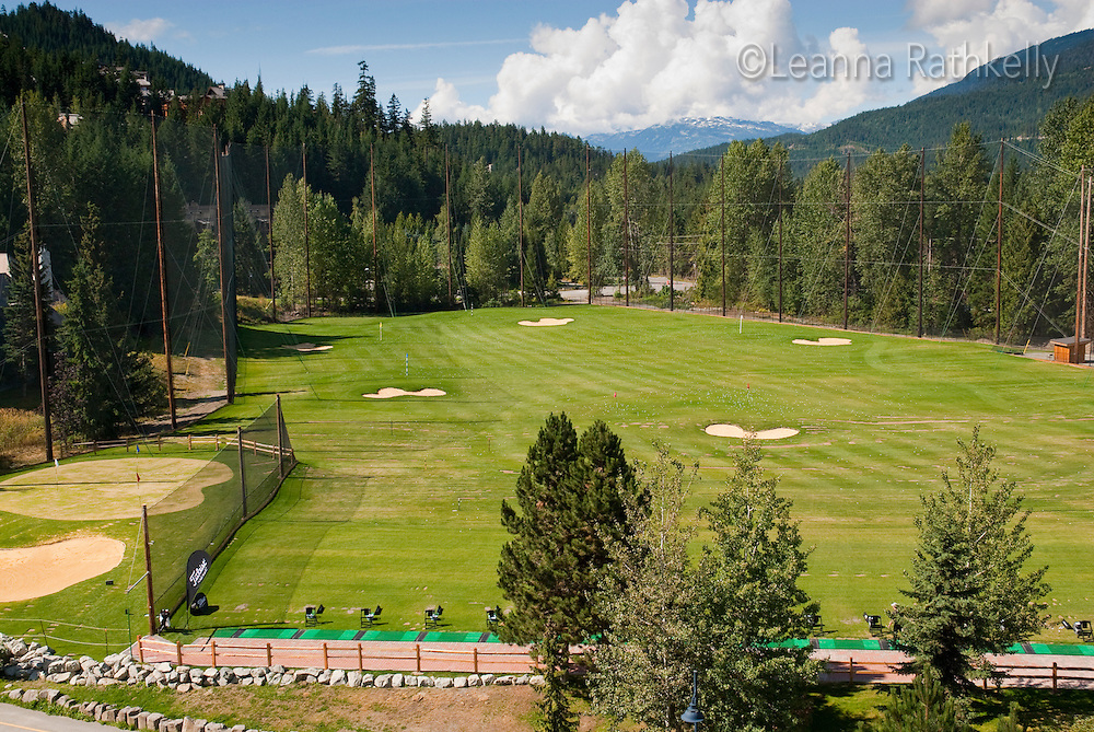 The practise range at the Whistler Golf Course features chipping, putting and driving practise areas.