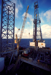 Stock photo of the view of the derrick from a jack-up offshore drilling rig