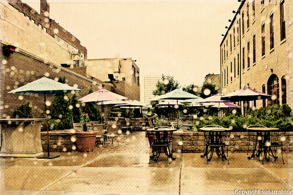 Outdoor Cafe in the Rain.