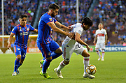 Leonardo Bertone (6) of FC Cincinnati and Nicholas Gaitan (20) of the Chicago Fire compete for the ball during a MLS soccer game, Saturday, September 21, 2019, in Cincinnati, OH. Chicago tied Cincinnati 0-0. (Jason Whitman/Image of Sport)