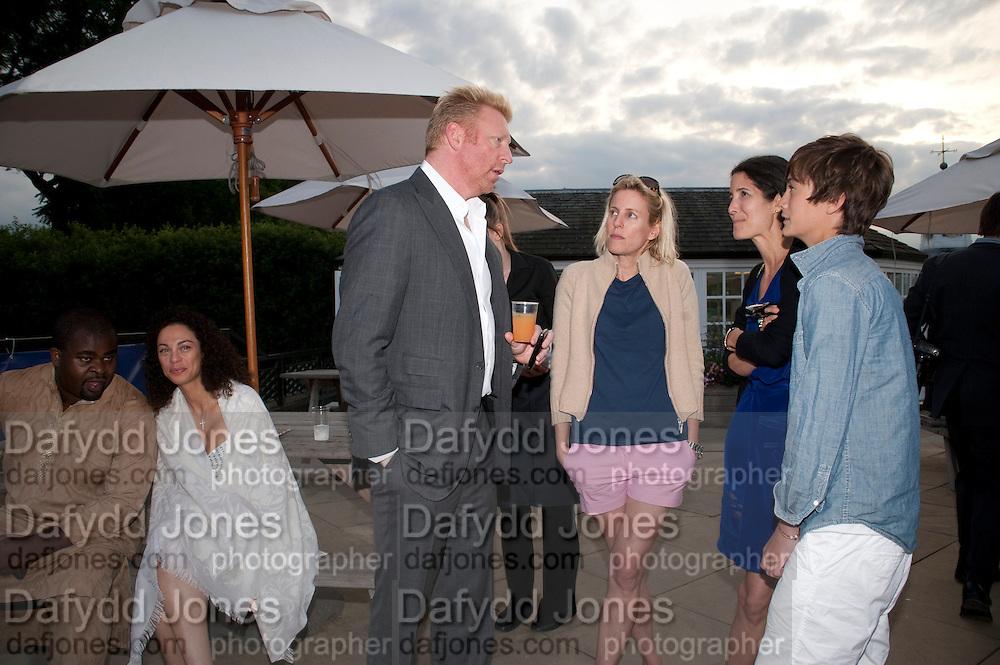 MISAN HARRIMAN; LILY BECKER; BORIS BECKER; SIDNEY FINCH, Chucs Dive & Mountain Shop charity Swim Party: Lido at The Serpentine. London. 4 July 2011. <br /> <br />  , -DO NOT ARCHIVE-© Copyright Photograph by Dafydd Jones. 248 Clapham Rd. London SW9 0PZ. Tel 0207 820 0771. www.dafjones.com.