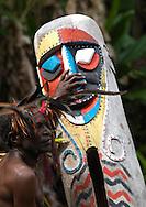 Vanuatu, Malampa Province, Malekula Island, small nambas man with slit drum