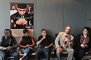 17 September 2010-New York, NY- l to r: Director Qasim Basir, Actress Nia Long, Actor Evan Ross, and Roger Guenveur Smith and Executive Producer Dana Offenbach at the press conference to announce the release of  ' Moozlum the Movie ' held at the Dolby Studios on September 17, 2010 in New York City. ..**exclusive**