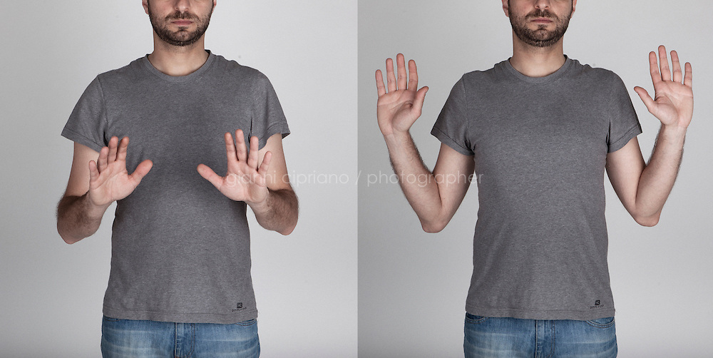 "A diptic illustrating an Italian hand gesture ""I don't know"" or ""it wasn't me""."