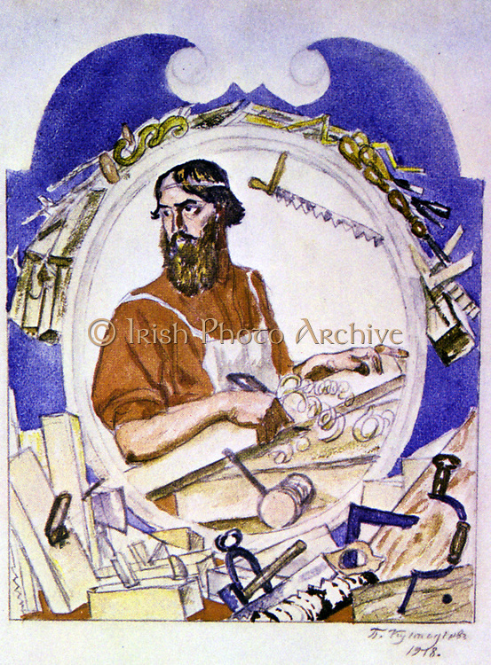 The Carpenter', 1918. Boris Mikhaylovich Kustodiev (1878-1827) Russian painter and stage designer. Carpenter at his bench, surrounded by all the tools of his trade. Woodworking