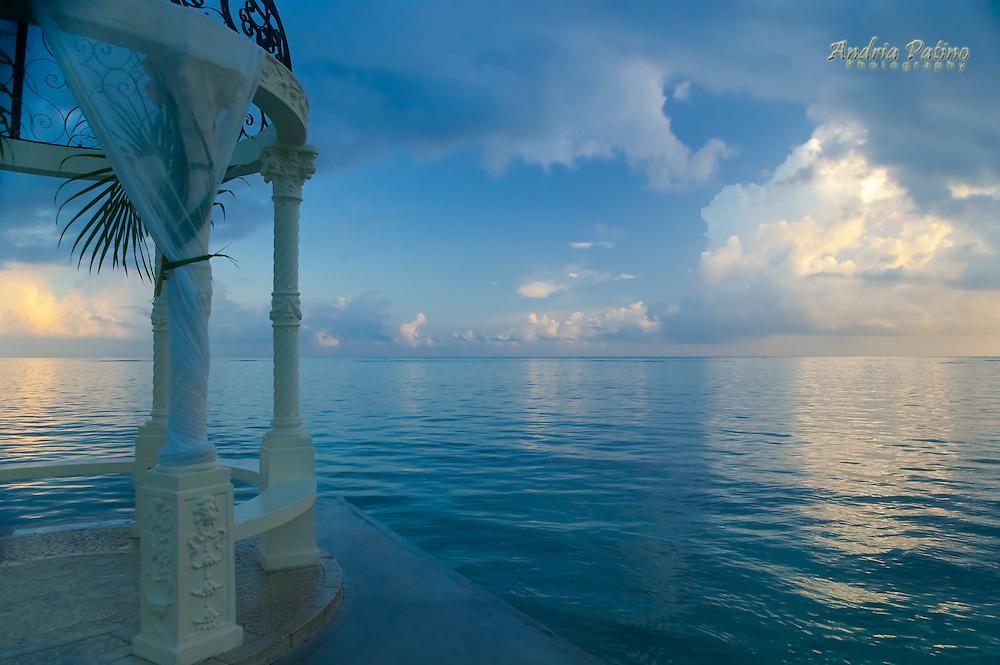 Sunrise from beach gazebo, Montego Bay, Jamaica