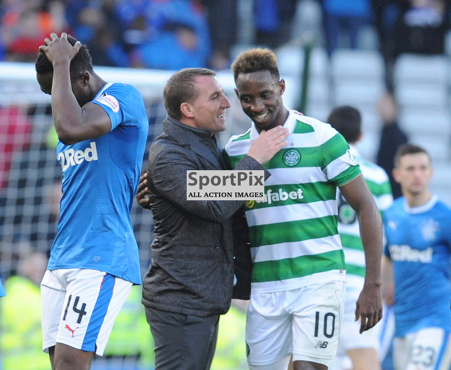 Celtic Manager Brendan Rodgers congratulates Moussa Dembele  at full time in the match between Rangers v Celtic, Betfred Cup semi-final, Hampden Park, Sunday 23 October 2016, (c) Angie Isac | SportPix.org.uk