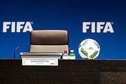 18.03.2016, Zuerich, SUI, Tagung FIFA Exekutivkomitee, im Bild The chair of Gianni Infantino (SUI) the President of the FIFA at the FIFA Executive Committee meeting in Zurich // during the FIFA Executive Committee meeting in Zuerich, Switzerland on 2016/03/18. EXPA Pictures © 2016, PhotoCredit: EXPA/ Freshfocus/ Urs Lindt<br /> <br /> *****ATTENTION - for AUT, SLO, CRO, SRB, BIH, MAZ only*****