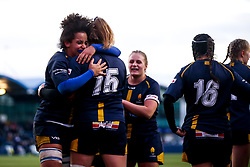 Carys Cox of Worcester Warriors Women celebrates with teammates after scoring a try - Mandatory by-line: Robbie Stephenson/JMP - 01/12/2019 - RUGBY - Sixways Stadium - Worcester, England - Worcester Warriors Women v Bristol Bears Women - Tyrrells Premier 15s