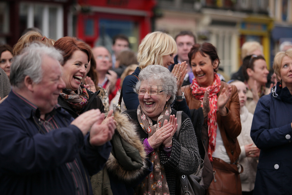 XXjob 12/05/2013 NEWS.Pictured at Clonakilty square to welcome Kilmeen Drama Group as they make their way home after their historic three in a row overall win in the All Ireland Drama Finals at Athlone over the weekend. L-R Gaeroid Finn, Darina Scully & Eileen Kingston (Rossmore) who were delighted with the speeches..Picture: Emma Jervis..