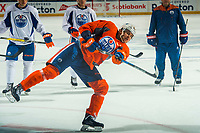 PENTICTON, CANADA - SEPTEMBER 9: Ziyat Paigin #92 of Edmonton Oilers takes a shot on net during morning skate on September 9, 2017 at the South Okanagan Event Centre in Penticton, British Columbia, Canada.  (Photo by Marissa Baecker/Shoot the Breeze)  *** Local Caption ***