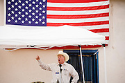 02 APRIL 2006 - THREE POINTS, AZ: Don Goldwater, a Republic candidate for the Governor of Arizona and nephew of late conservative icon Barry Goldwater, speaks to members of the Minuteman Project during the Minuteman Project action between Three Points, AZ, and Sasabe, AZ, about 50 miles south of Tucson, AZ, April 2, 2006. Volunteers from the Minuteman Project have set up a line of about 20 observation posts on King's Anvil Ranch, a cattle ranch in the area.  Photo by Jack Kurtz