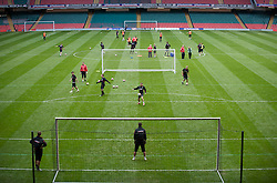 CARDIFF, WALES - Thursday, March 26, 2009: Wales' players training at the Millennium Stadium ahead of the 2010 FIFA World Cup Qualifying Group 4 match against Finland. (Pic by David Rawcliffe/Propaganda)