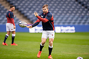 Elliot Daly (#11) (Saracens) of England passes the ball during the England training run ahead of the 6 Nations match between Scotland and England at BT Murrayfield, Edinburgh, Scotland on 7 February 2020.