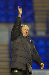 BIRKENHEAD, ENGLAND - Tuesday, March 6, 2012: Tranmere Rovers' manager Ronnie Moore applauds the supporters after the 1-1 draw against Notts County during the Football League One match at Prenton Park. (Pic by David Rawcliffe/Propaganda)