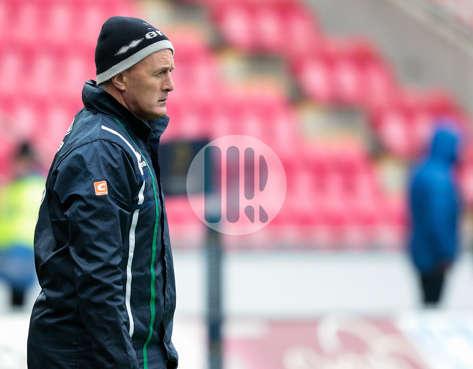 Benetton Rugby's Head Coach Kieran Crowley during the pre match warm up<br /> <br /> Photographer Simon King/Replay Images<br /> <br /> EPCR Champions Cup Round 3 - Scarlets v Benetton Rugby - Saturday 9th December 2017 - Parc y Scarlets - Llanelli<br /> <br /> World Copyright © 2017 Replay Images. All rights reserved. info@replayimages.co.uk - www.replayimages.co.uk