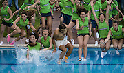 April 24, 2016 - Barcelona, Catalonia, Spain - <br /> <br /> RAFAEL NADAL of Spain jumps into the club's swimming pool with the ball boy and girls after winning the final of the 'Barcelona Open Banc Sabadell' 2016 against Kei Nishikori of Japon Rafael Nadal won 6:4, 7:5 <br /> ©Exclusivepix Media
