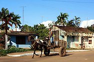 Horse and cart in Yaguaramas, Cienfuegos Province, Cuba.