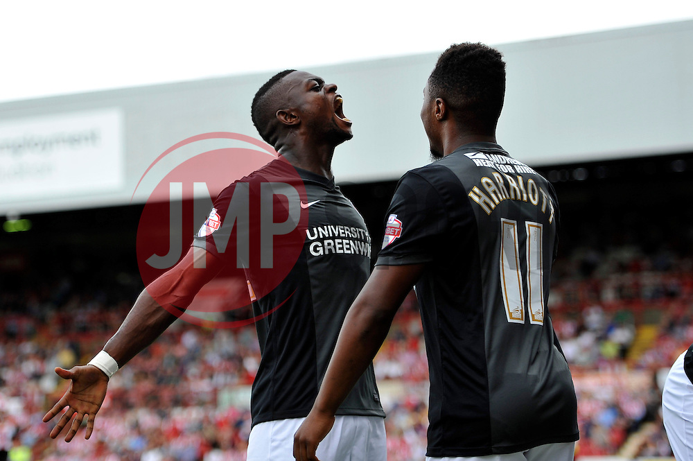 Charlton Athletic's Igor Vetokele celebrates his second half goal - Photo mandatory by-line: Patrick Khachfe/JMP - Mobile: 07966 386802 09/08/2014 - SPORT - FOOTBALL - Brentford - Griffin Park - Brentford v Charlton Athletic - Sky Bet Championship - First game of the season