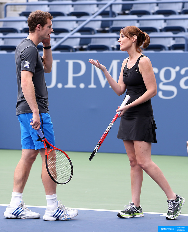 Andy Murray and TV Host Savannah Guthrie as reigning US Open Tennis Champions Andy Murray and Serena Williams take part in a 'doubles' match with TODAY co hosts Matt Lauer and Savannah Guthrie. Flushing. New York, USA. 22nd August 2013. Photo Tim Clayton