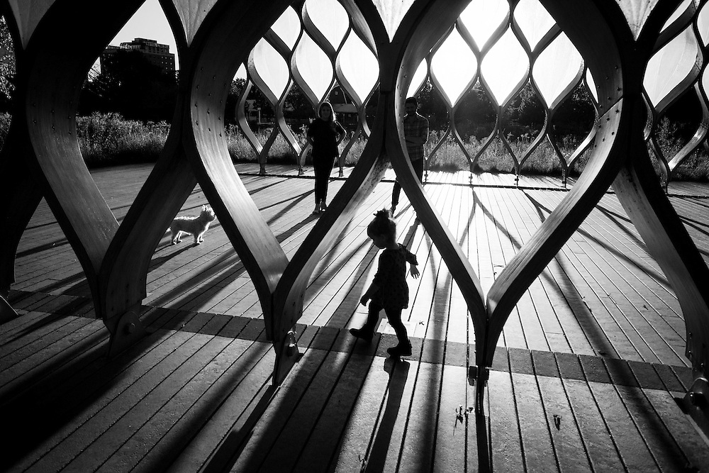 Children play in the Studio Gang Architect's South Pond Pavillion in Chicago's Lincoln Park neighborhood.