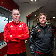 04.04.2016              <br /> A major event in Thomond Park to launch LIT&rsquo;s 2016/17 Sports Scholarship Programme has been told that the welfare of young athletes is a pressing issue that requires co-ordinated management.  <br /> <br /> Pictured at the event were, Kenneth McNamara and Ewan Gee.<br /> <br /> LIT&rsquo;s Scholarship Programme has a focus on athlete support and welfare, including off-field mentoring and education support for scholars.<br /> <br /> Joe O&rsquo;Connor, fitness consultant &ndash; whose credits include Ireland&rsquo;s Fittest Family, roles in Athletics Ireland, Horse Sport Ireland and senior inter-county GAA teams &ndash; told the event that the monitoring of training loads is critical in managing the welfare of young players, but warned that &ldquo;This involves so many people other than the athletes themselves.  Coaches across different teams and codes, in schools and colleges all have to play a role, as do parents and mentors.  Along with a correct lifestyle, this is the way to ensure that athletes maintain their health and fitness during their playing careers.  Its something we all need to take on board.&rdquo;. Picture: Alan Place/Fusionshooters