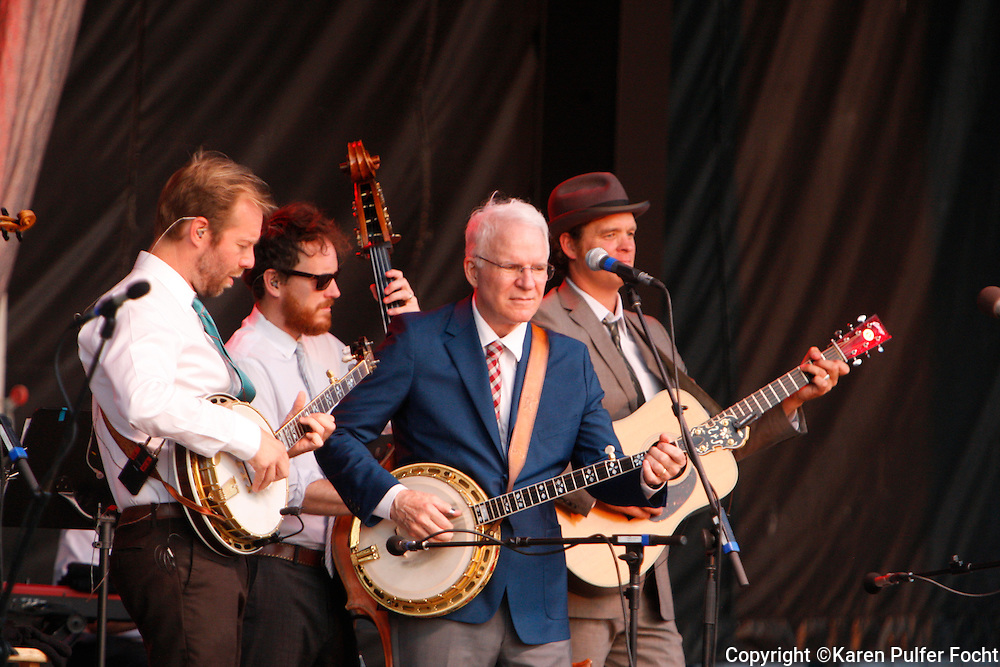 August 2, 2013 - Comedian Steve Martin, performed at Snowden Grove Amphitheater, Saturday evening, in his more current role as a blue grass musician. He is touring with the North Carolina bluegrass band the Steep Canyon Rangers and singer-musician Edie Brickell. He did use every opportunity to still get a laugh, while performing with his banjo.