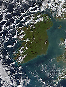 The Irish Sea (right) full of phytoplankton in this true-colour image from January 2002. The Irish Sea separates Ireland (centre) from the United Kingdom (right).  This milky appearance is likely due to the growth of marine plants called phytoplankton. Credit Jacques Descloitres, MODIS Land Rapid Response Team, NASA/GSFC