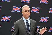XFL commissioner Oliver Luck speaks during a news conference, Tuesday, May 7, 2019, in Los Angeles. Play will begin in the eight-team league on Feb. 8-9, 2020 with teams in Dallas, Houston, Los Angeles, New York, St. Louis, Seattle , Tampa Bay and Washington D.C.